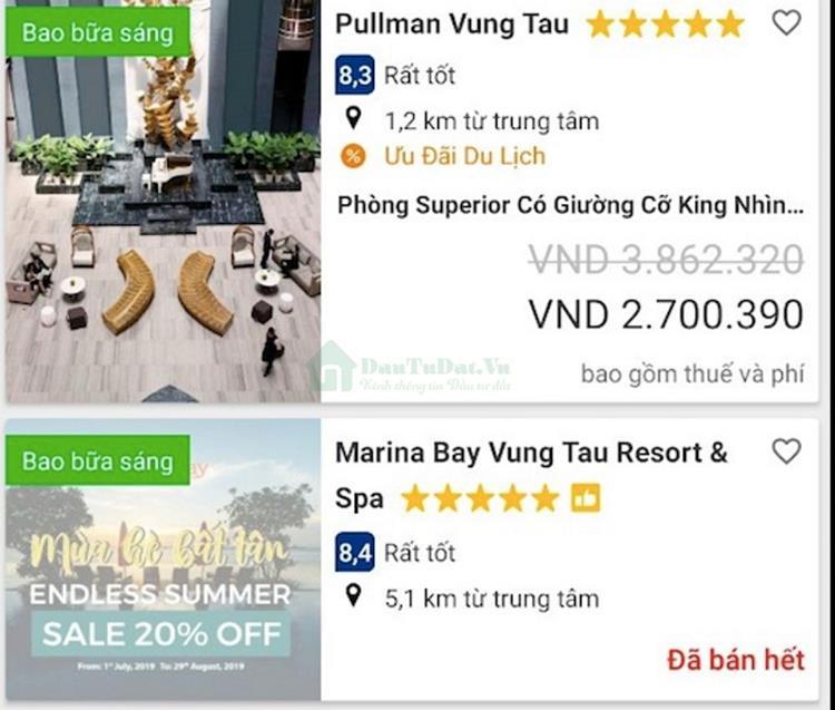 Giá thuê phòng tại Vũng Tàu