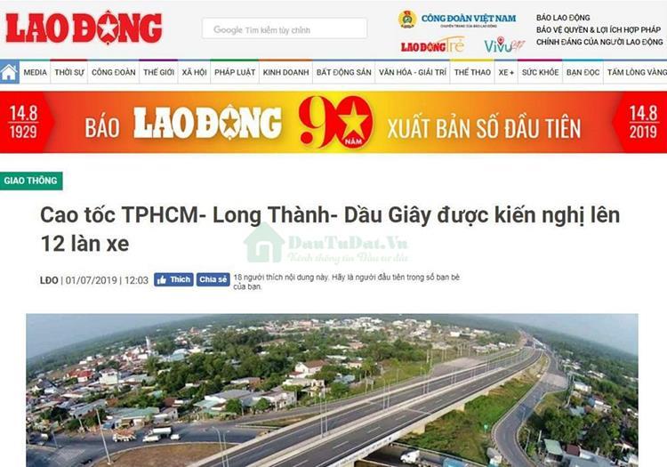 Thông tin về cao tốc TP. HCM - Long Thành - Dầu Giây