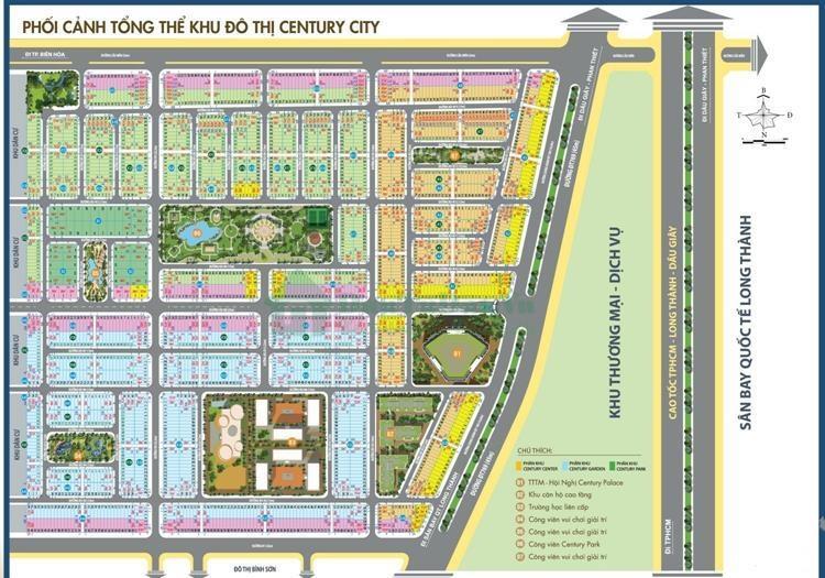 Mặt bằng tổng thể Dự Án Century City tại Long Thành