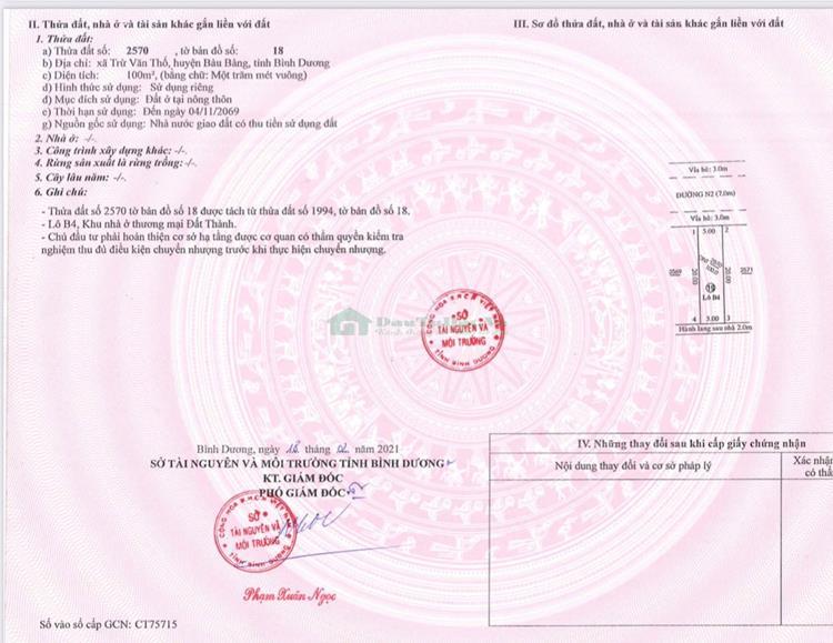 Sổ hồng dự ánĐại Phước Molita Bàu Bàng