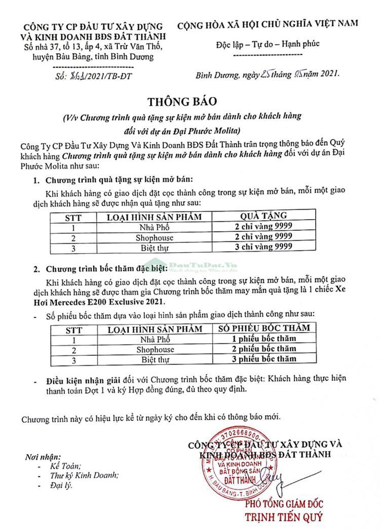 Chính sách bán hàng của CĐT Đại Phước Molita Bàu Bàng