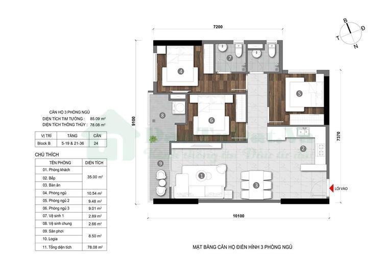 Thiết kế căn hộ Đất Xanh Homes City View