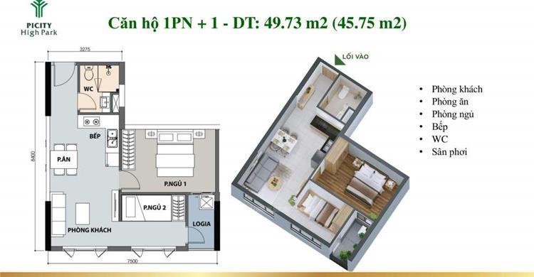 căn hộ Picity High Park 1 phòng ngủ